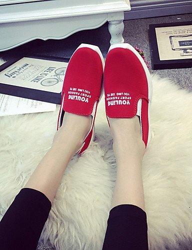 ShangYi Scarpe Donna - Mocassini - Tempo libero / Ufficio e lavoro / Formale / Casual - Ballerina - Piatto - Di corda - Nero / Blu / Rosso Red