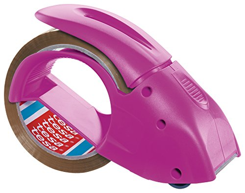 Tesa Packband Handabroller Pack 'n' Go, Pink, inkl. 1 Rolle tesapack PP in braun, 50m:50mm
