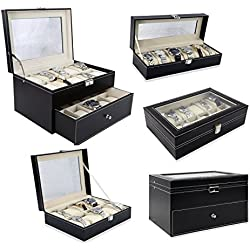 OUBO Kunstleder Uhrenbox Uhrenkoffer Uhrenschatulle für 6/10/12/20 Uhren Neu JWB