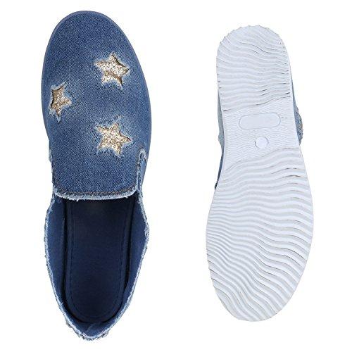 Sportliche Damen Ballerinas   Freizeit Slipper   Bequeme Flats   Stoffschuhe Slip-ons   Sneakers   Denim Prints Glitzer Blau Sterne