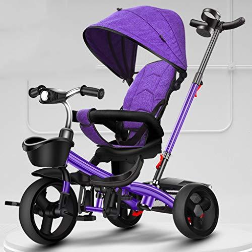 Xiix Kinderwagen Buggy Das Dreirad der Kinder, das tragbaren Kinderfahrrad-Wagen mit Pedal-justierbarer Laufkatzen-Drehsitz-Speicher-Rahmen-Markise faltet (Color : Purple)