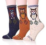 LJ Sport Tiere Design Socken Damen Mädchen Wolle Socken Soft Casual Socken 3 Paar Packung (Owl)