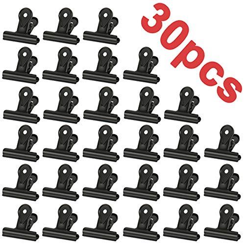 30PCS Kleine Bulldogge Büroklammern,Multi-function clip for klammern für fotos, office and kitchen (Schwarz,22mm)