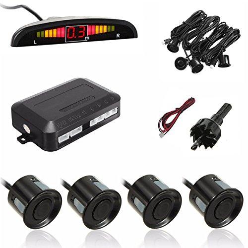 MATCC Radar de Recul 4 Capteurs NOIR Aide au Stationnement Beeper Écran LED Auto Système de Parcage Double CPU