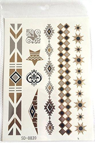 Réf077 LT.76 - Tattoo Ephémère Motifs Ethniques Dorés et Argentés Etoiles - Tatouage Temporaire Planche Grand Format