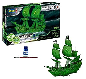 Revell Maqueta Ghost Ship, Brilla en la Oscuridad, Easy Click System, Kit Modello, Escala 1:150 (5435) (05435), 26,0 cm de Largo