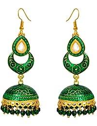 Trending Meenakari Green Chaand Shaped Gold Plated Brass Tokri Jhumki Earrings For Women,girls And Gifts