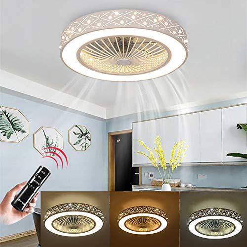 Ventilador de Techo con Lámpara, 36W Creativo Ventilador Invisible LED Lámpara de Techo Control Remoto...