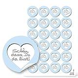 96 runde Aufkleber hellblau weiß grau blau Herz SCHÖN DASS DU DA BIST 4 cm Sticker Etiketten für Hochzeit Taufe Kommunion Geburtstag Gastgeschenke give-away Deko Mitgebsel Geschenke Verpackung