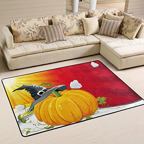 een-Kürbis mit Ray Hintergrund Vektor Bild Flokati Teppiche für Wohnzimmer und Schlafzimmer, griffige Bereich Teppich für Kinder Schlafzimmer-Dekor, 36 x 24 Zoll Multi ()