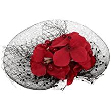 1 Fascinator Sombrero De La Flor Roja De La Pluma De Malla Pastillero Arco Tocado Neta De Joyería