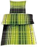 4 Teilig Microfaser Sommer Bettwäsche hauchdünn und kühlend aus 100% Mikrofaser 135x200 + 80x80 Karo grün