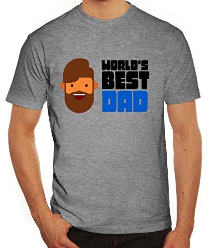 Geschenkidee Herren T-Shirt mit World's Best Dad Motiv von ShirtStreet Graumeliert