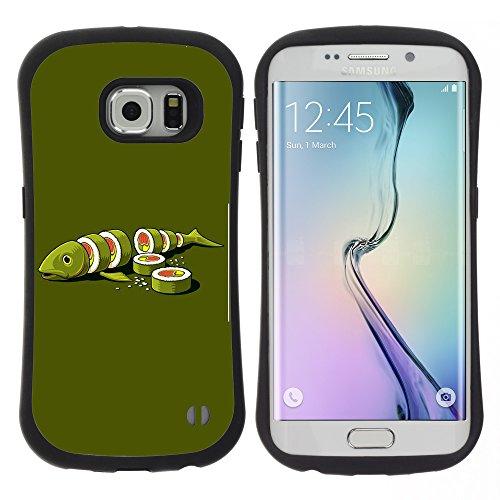 STPlus Fish Cut Into Sushi Maki Komisch Anti-Rutsch Weichen Stoßfest Hülle Tasche Schutzhülle für Samsung Galaxy S6 Edge