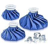 Bolsas de hielo reutilizables–instantáneo alivio del dolor y la inflamación–diseño Flexible para perfectamente contorno partes del cuerpo–viene en un paquete de 3bolsas de hielo con 6, 9y 11pulgadas tamaños–No Fugas, no gotea el