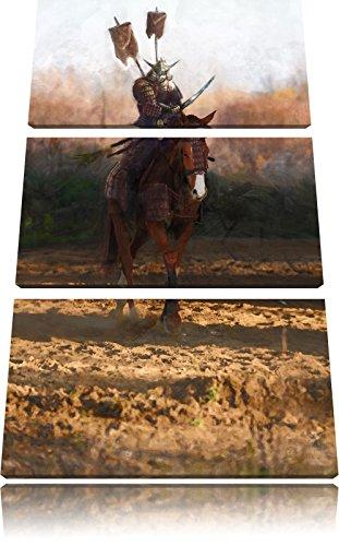 Pixxprint Samurai Guerriero a 3 Pezzi Un Cavallo Tela di Canapa su Tela 120x80