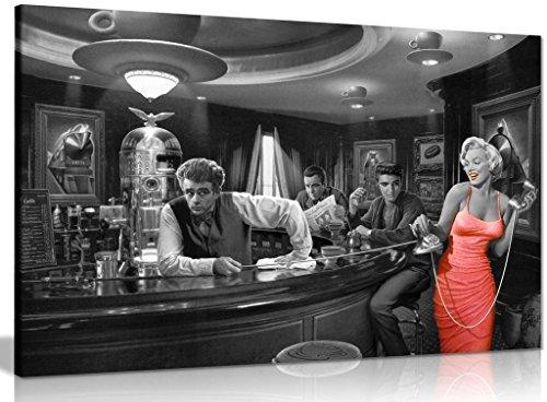 Kunstdruck auf Leinwand: Marilyn Monroe, Elvis Presley, James Dean, schwarz/weiß/rot, schwarz / rot / weiß, A0 91x61cm (36x24in) (Und Elvis Monroe Presley Marilyn)