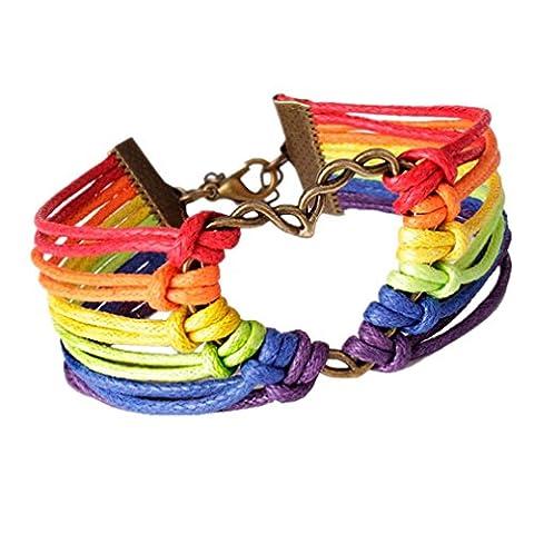 Kolylong Rainbow Charm Love Heart Braided Bracelet