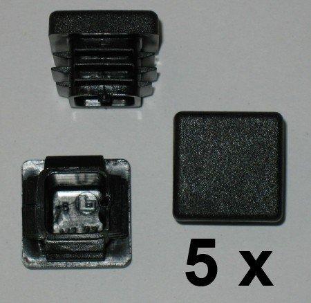 5 x Bouchon à lamelles carré rohrstopfen 20 x 20 mm (extérieur) Bouchon Noir