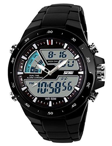 Dual-Bewegungen Dual-Anzeige Uhr für Männer Jungen Runde Armbanduhr mit Stoppuhr Wecker Chronograph Licht und Kalender 50M Wasserdicht - Muster 1