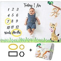 Manta Mensual De Hito Para Bebé, Unisex | Manta Mensual De Bebé Para Fotos | Regalos Personalizados Para Futuras Mamás | Registra Su Edad Y Crecimiento | Suave, Gruesa Y Grande