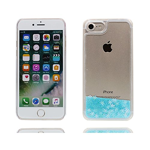 Custodia iPhone 7, iPhone 7 copertura 4.7 / case in Gel TPU Divertente scintillante fluido liquido divertente Cover Case / elegante blu Color 4