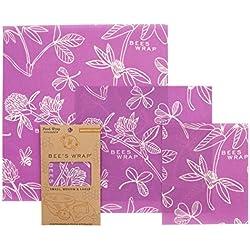 Bee's Wrap Lot de 3emballages Alimentaires Tailles Assorties Violet