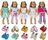 ZITA ELEMENT Vestiti Bambole - Lot 7=5 Moda Abiti Gonna Vestito + 2 Paia di Scarpe per 18 Pollici Bambole American Girl,Madame Alexander, Our Generation Dolls Clothes