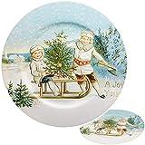 6 Stück _ große XL Teller / Plätzchenteller / Platzteller - Ø 33 cm - Weihnachten - Nostalgie - Unterteller - Platzteller - Weihnachtsteller / Keksteller - gr..