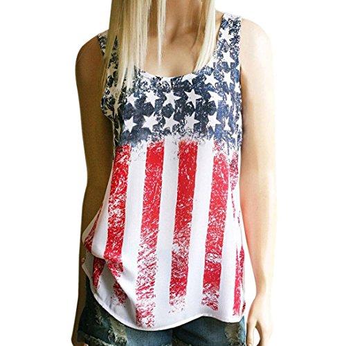 LILICAT Frauen Drucken American Flag T-Shirt Damen Ärmellos Tank Crop Tops Chic Weste Mode Bluse Beachwear (S, Mehrfarbig) (Halter Top Cami Lycra)