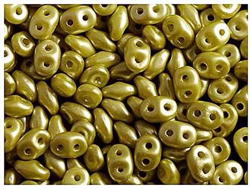 20gr Tschechische Glasperlen SuperDuo Zwei Löcher Größe: 2.5x5mm, Alabaster Pastel Lime Green (Gläser Lime Green)