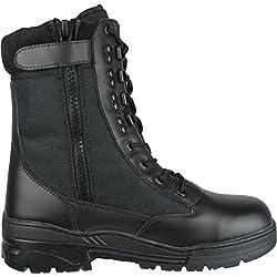 Botas de Combate Negras en Piel con Cremallera lateral Ejército Cadete Táctica Militar (43)