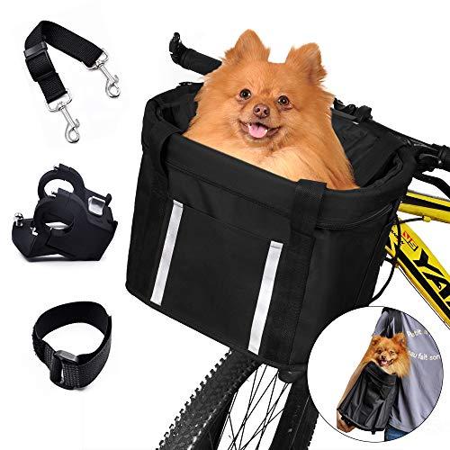 ANZOME Hunde Fahrradkorb, Hundekorb Fahrrad vorne, Abnehmbare Hundetasche für Kleiner Hund-Haustier-Einkaufen-Picknick, mit Lenkeradapter, Kabelbinder, Haustier Sicherheitsgurt, 33 x 22 x 25 cm