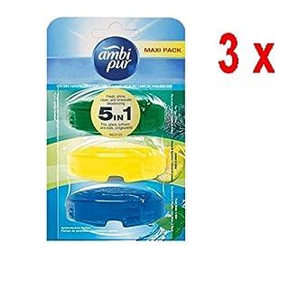 3 x Ambi Pur 3 flüssige WC-Steine Nachfüller 3 x 55ml - Tea Tree / Lemon / Freshwater