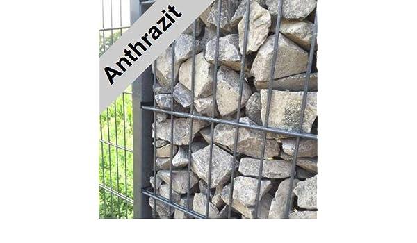 Gabione Steinkorb Wand Zaun Steingabion Anthrazit Höhe 163cm Länge 10 Meter