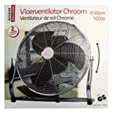 Ventilator Boden CHROM 100 Watt schwenkbar 40 cm Fan Set