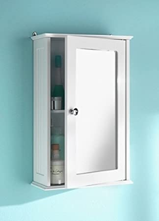 White Maine Single Mirrored Door Bathroom Cabinet