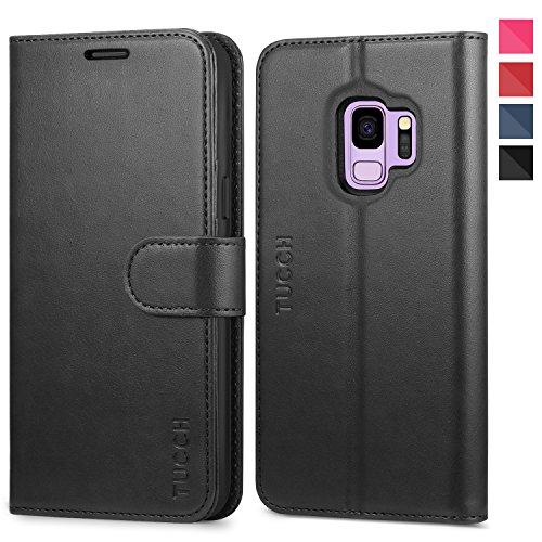 TUCCH Galaxy S9 Hülle Case Handyhülle im [Buchstil] Schutzhülle Lederhülle [Softer TPU] [Lebenslange Garantie] Handytasche mit [Magnet] [Kartenfach] [Aufstellfunktion] Kompatibel für Galaxy S9 Schwarz