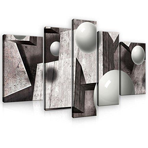 welt-der-träumewandbild Set canvasbild Set Set de impresión de Lienzo juego de lienzo | 3d gris geométrico figuras | | lienzo cuadro Impresión Set 10235_ ps4a-ms | arte abstracto Abstracción 3d geométrico geometría, S4A (170cm. x 100cm. (1x30x100, 2x30x80, 2x40x60))