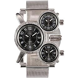 Los hombres del OULM multi-función militar de 3 opciones de acero inoxidable reloj de pulsera de cuarzo de la práctica de deportes de negocios de la plata