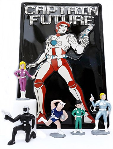 Unbekannt CAPTAIN FUTURE Fan-Set: Blechschild & 5-teiliges Bootleg Figurenset: Captain Future, Greg, Otto, Joan und Ken