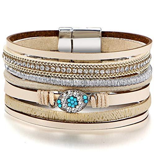 WHFDRHSZ Armband Armreifen Beads Leder Armbanden für Armbrüste Boho Infinity Kristal Vrouwelijke Gevlochten Armband Sieraden, Fdy324A2