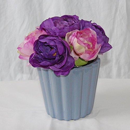 Homescapes Kunstblume Ranunkel in Keramik Topf Höhe ca. 16 cm künstliche Pflanzen Kunstblumen Deko