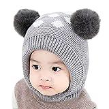 Mitlfuny Unisex Baby Kinder Jungen Zubehör Säuglingspflege,Neugeborenen Kinder Baby Mädchen Pom Hut Winter Warme Cartoon Beanie Cap Schal Set