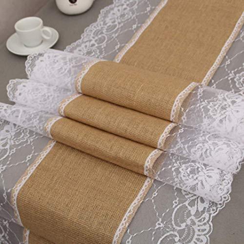 BYBAY Tischläufer Naturleinen für Hochzeit Weihnachten Esszimmer Restaurant Home Decor White Lace Tischdecke