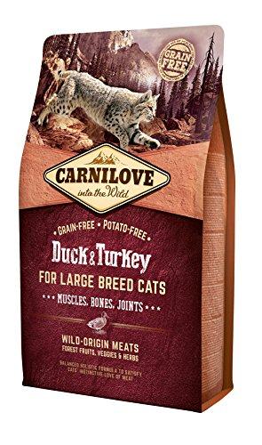 Carnilove Duck & Turkey Large Joints Comida Deshidratada para Gato 2 Kg - Paquete de 11 x 181.82 gr - Total: 2000 gr