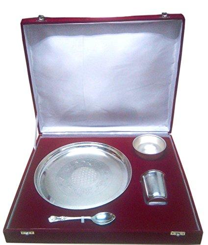 Chandrika Pearls Gems & Jewellers German Silver Thali Set Thali, Glass, Bowl, Spoon