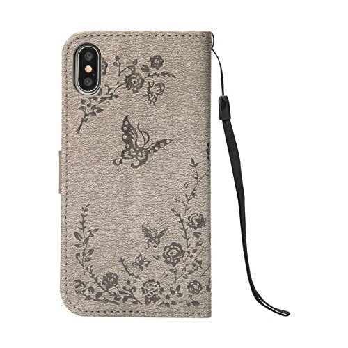 iPhone X Bling Hülle,iPhone X(2017) Lederhülle,TOYYM Glizter Strass Retro Schmetterling Muster Magnet Stand Flip PU Leder Cover Brieftasche Wallet Case mit Kartensteckplätze Innere Bumper Silikon Back Grau