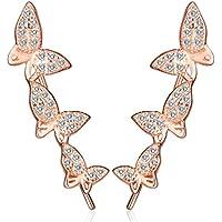 yumilok gioielli da donna in argento Sterling 925placcato in oro rosa con zirconi farfalle Studs (Plain Huggie Orecchini)