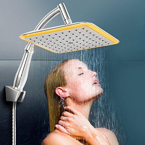 Regenduschkopf mit Stange, 360 ° schwenkbares Gelenk, quadratisch, 22,9 cm Regenfall-Duschkopf, Ionenfiltration, Hochdruck-sparende Wasser-Handbrause, Quadratisch, square -9 inch